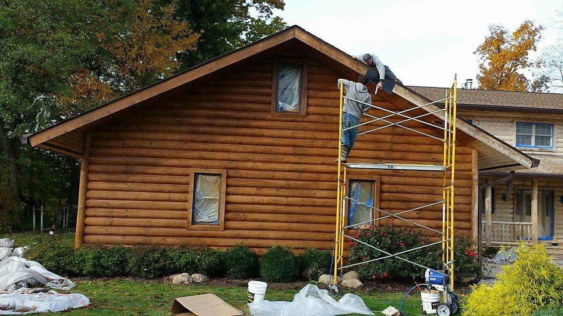 Log Home Power Washing Restoration - Three Rivers Michigan